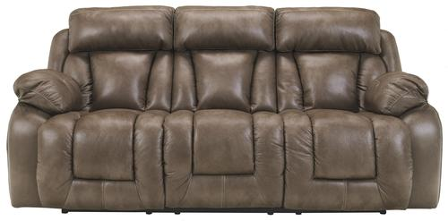 Ashley Furniture Loral Sable Contemporary Faux Leather Reclining Sofa