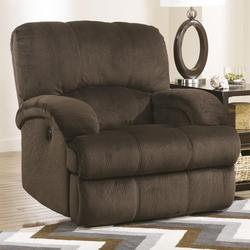 Kiska - Chocolate Rocker Recliner with Curved Pillow Arms