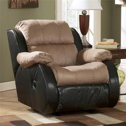 Presley - Cocoa Casual 2-Tone Rocker Recliner with Pillow Arms