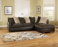 Gemini - Chocolate Contemporary Faux leather Loose Pillow RAF Chaise Sectional