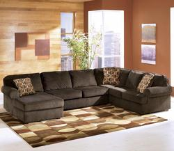 Vista - Chocolate Casual 3-Piece Sectional with Left Chaise