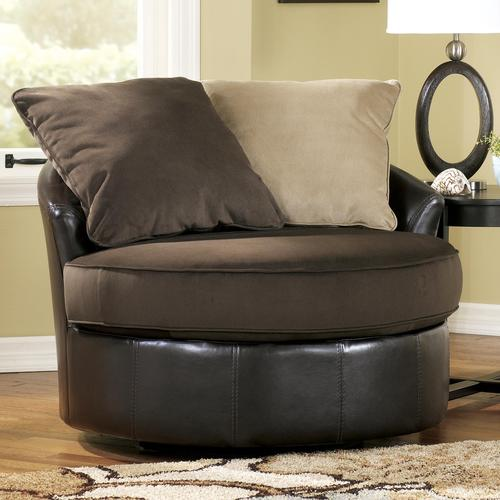 Ashley Furniture Gemini Chocolate Contemporary Ultra Plush Loose Pillow Round Chair With