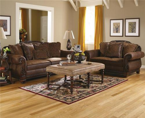ashley furniture bradington truffle stationary living room group