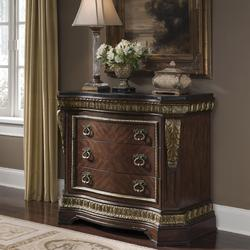 Del Corto Traditional Bed Chest with Pilasters and Marble-Like Top