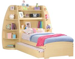 Enterprise Twin Storage Bed With Trundle and Two Corner Bookcases