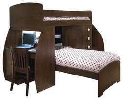 Space Saver Twin Over Twin Bunk Bed with Desk & Chest
