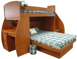 Space Saver Twin Over Full Bunk Bed with Desk