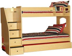 Enterprise Twin Over Twin Stairway Bunk Bed With Trundle and Hanging Shelf