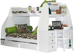 Enterprise Twin Over Full Bunk Bed With Desk, Storage Drawers, and Hanging Shelf