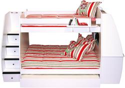 Enterprise Twin Over Full Bunk Bed With Desk, Trundle, and Hanging Shelf