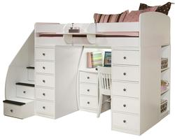Space Saver Twin Loft Bed with Desk & Two Chests