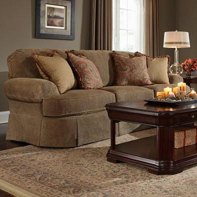 McKinney Traditional Sofa With Curved Front And Pleated Skirt