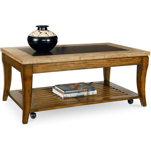 Broyhill Furniture Rockford Rectangular Cocktail Table With Casters And Shelf