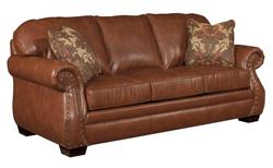 Ridley Traditional Leather Sofa with Rolled Arms and Nailhead Trim