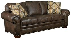 Sawyer Sofa with Rolled Arms, Nail Head Trim, and Wood Block Feet