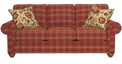 Choices Upholstery 87 Inch Standard Sofa with Panel Arm, Boxed Border Semi-Attached Back & Turned Leg Base
