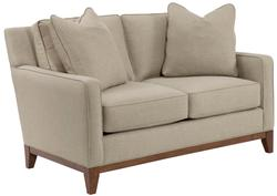 Suede Quinn Contemporary Loveseat with Wood Base Rail
