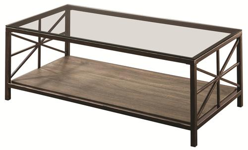 Coaster Avondale Rustic Coffee Table With Wood Shelf And Glass Top - Rustic wood and glass coffee table