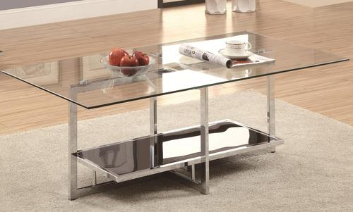 Occasional Group Chrome Coffee Table With Clear Glass Top And Black Glass  Bottom Shelf