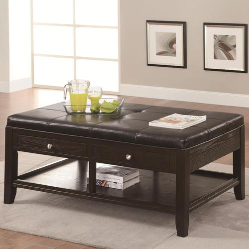 Coaster occasional group coffee table with 2 drawers and upholstered top Coaster coffee tables