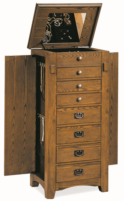 coaster jewelry armoires oak mission jewelry armoire. Black Bedroom Furniture Sets. Home Design Ideas