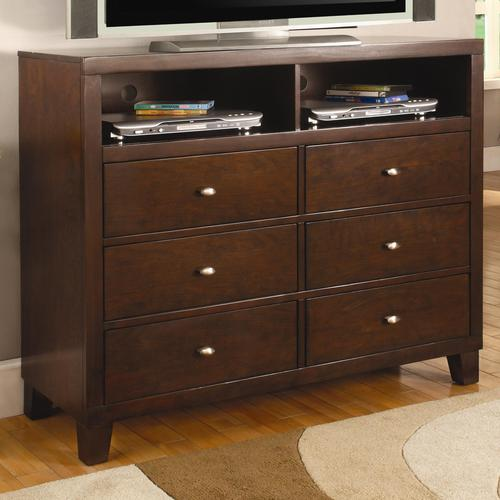 Coaster lorretta contemporary tv dresser with shelves and for Bedroom t v dressers