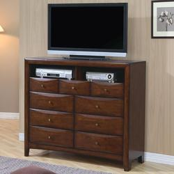 Hillary and Scottsdale Contemporary TV Dresser with 9 Drawers and 2 Media Compartments