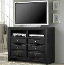Briana Media Chest with 6 Drawers and 2 Compartments