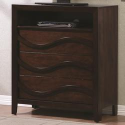 Loncar Contemporary Wave Media Chest with Open Shelf and Wire Management