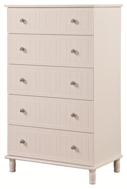 Bethany 5 Drawer Cottage Style Chest with Crystal Knobs
