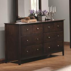Tia 6 Drawer Dresser with Brushed Nickel Hardware