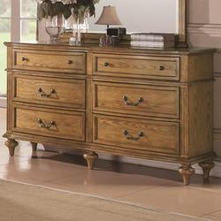 Emily Oak Drawer Dresser w/ Fluted Columns