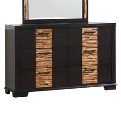 Dominic Contemporary 6-Drawer Dresser with Gray & Textured Oak-Like Finish