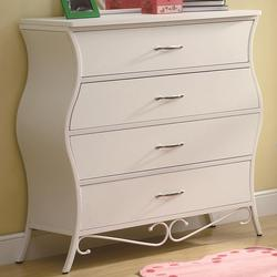 Bella Youth Four Drawer Dresser in White
