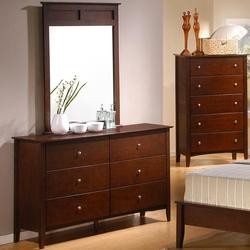 Tamara 6 Drawer Dresser and Vertical Mirror Vanity Set