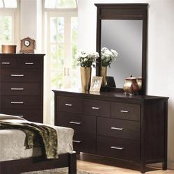 Kendra 7 Drawer Dresser and Vertical Mirror Vanity Set