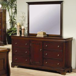 Versailles 6 Drawer Dresser with Door and Vertical Mirror