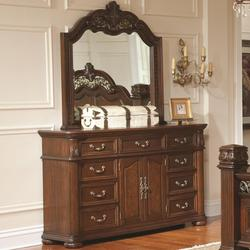 DuBarry Nine-Drawer Two-Door Dreser & Mirror with Ornately Carved Frame Combination