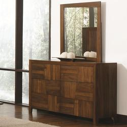Joyce Transitional 6 Drawer Dresser & Mirror Set