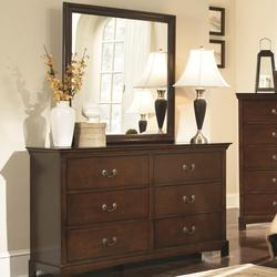 Tatiana Transitional Six Drawer Dresser and Mirror Combination