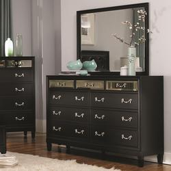 Devine 9 Drawer Dresser and Beveled Mirror Set