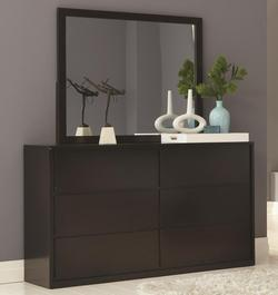 Hudson 6 Drawer Dresser with Square Mirror
