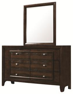 Marshall Contemporary Style Dresser & Mirror Set with Framed Faux Croc Design