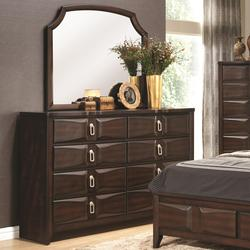 Casper 8 Drawer French Art Deco Style Dresser & Mirror with Contemporary Silhouette