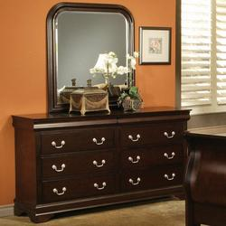 Louis Philippe Louis Philippe Style 6 Drawer Dresser with Hidden Storage and Curved Frame Mirror
