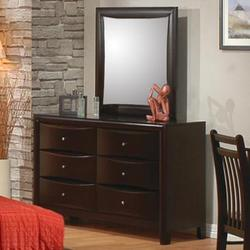 Phoenix Contemporary Youth 6 Drawer Dresser and Mirror