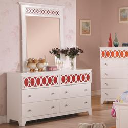 Madeline Low Dresser & Beveled Mirror Set
