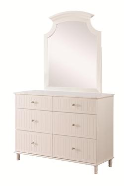 Bethany 6 Drawer Dresser and Mirror Set with Crystal Knobs