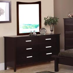Stuart Contemporary 6 Drawer Dresser and Vertical Curved Crown Mirror