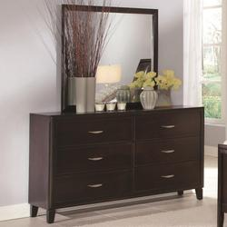Coventry Transitional Six Drawer Dresser and Mirror Set